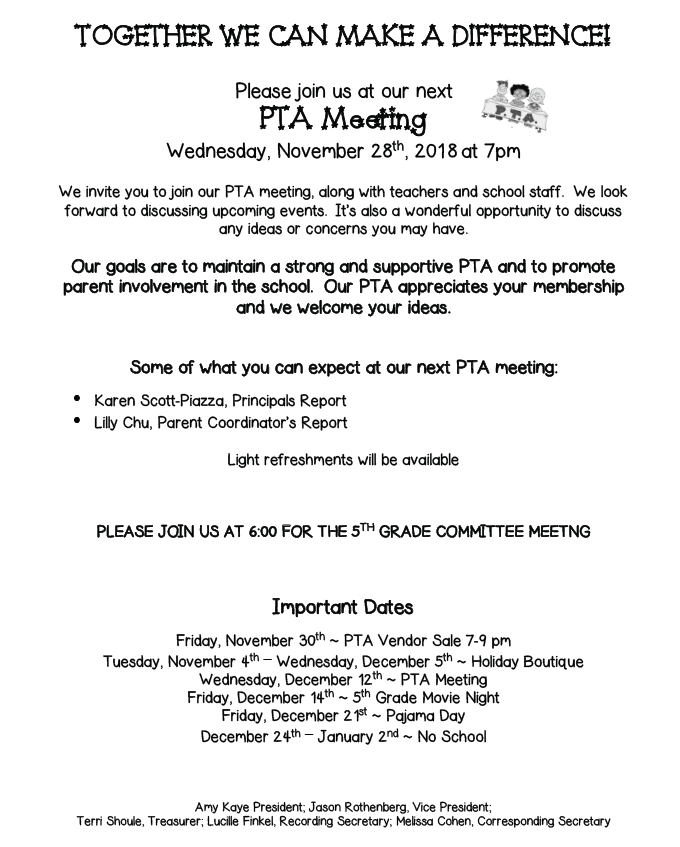 PTA Meeting November 28, 2018 » PS 205Q The Alexander Graham