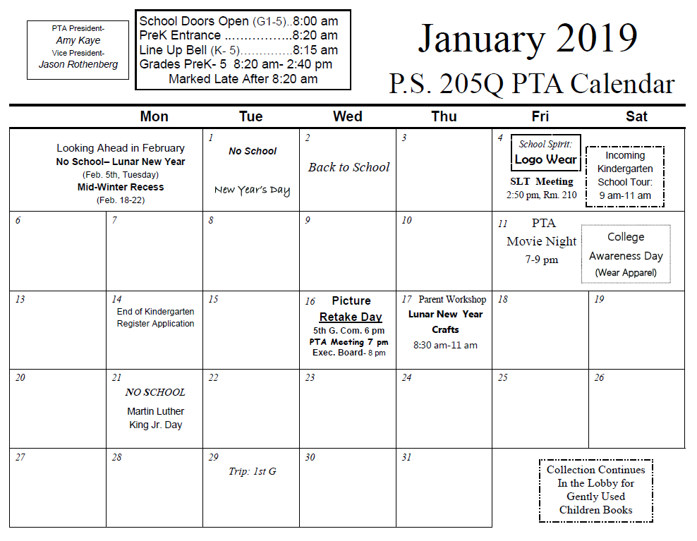 January 2019 Calendar Ps 205q The Alexander Graham Bell School