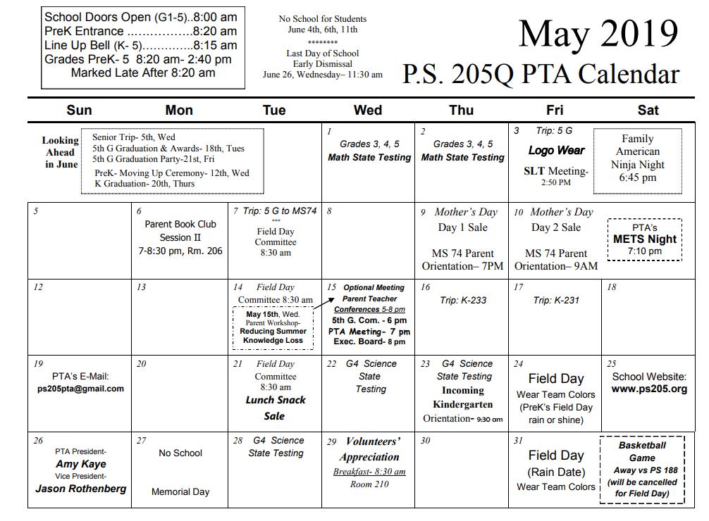 May 2019 Calendar » PS 205Q The Alexander Graham Bell School
