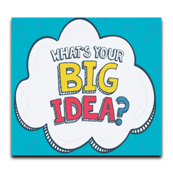 cartoon image of white cloud on blue background with text what's your big idea linked to student government form