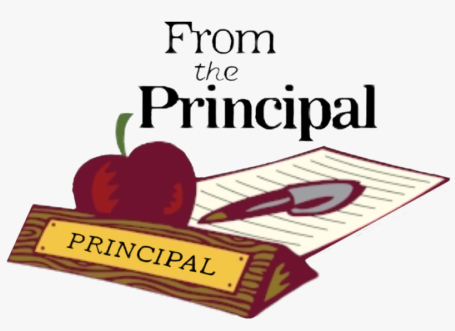 image of clipart of principals desk with an apple, pen, piece of paper and principal name tag with text from the principal. Used to link to messages from the principal.
