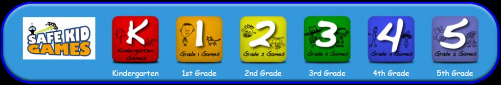 image of logo of Safe Kid Games with grades k, 1, 2, 3, 4, 5 . Link to safekidgames.com