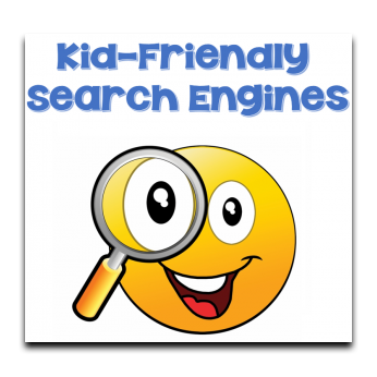 image of emoji with magnifying class and text says kid-friendly search engines and links to kid friendly search engine page