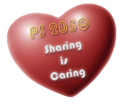 image of red heart with text that reads PS 205Q Sharing is Caring