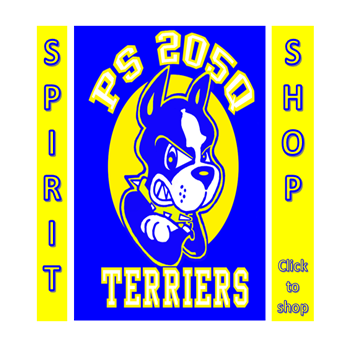 Image of ps 205 terrier mascot, text says spirit shop and links to shopify school store