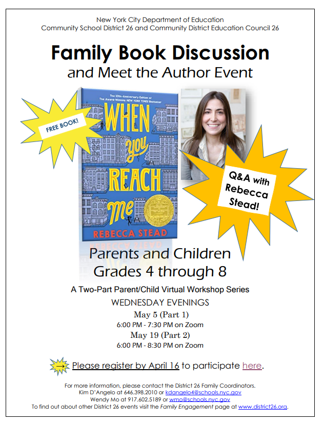 Family Book Discussion and Meet the Author Event for Parents and Children Grades 4 through 8 . Click for PDF