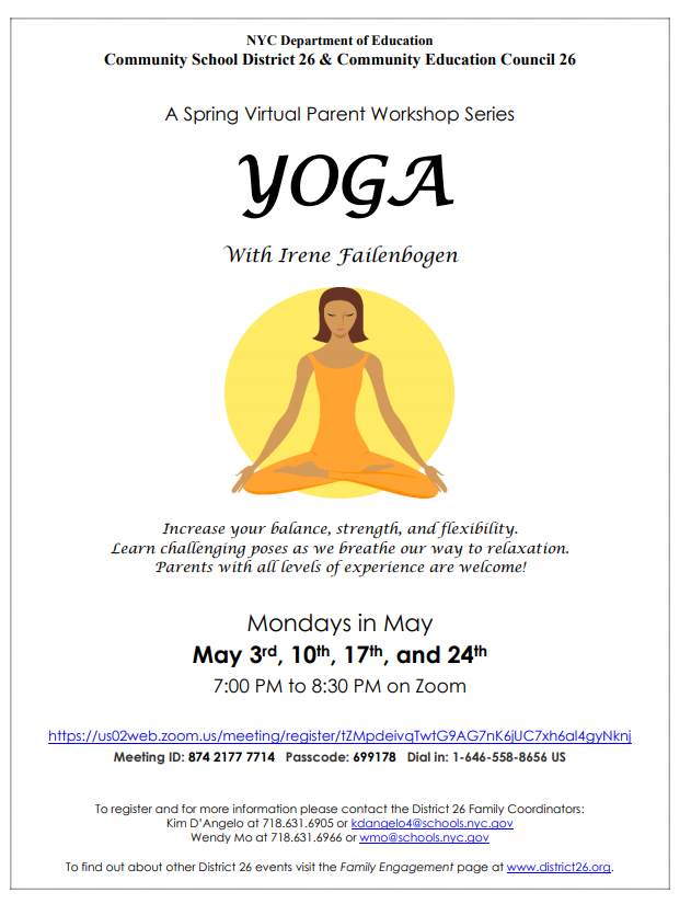 District 26 Yoga Workshop May 3rd, 10th, 17th, and 24th. Click for PDF
