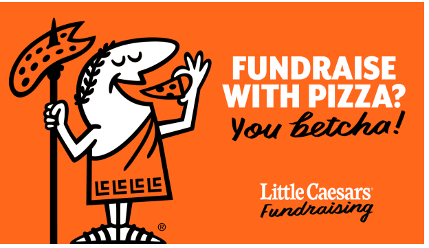 image of little caesar's pizza logo. link to fundraising flyer