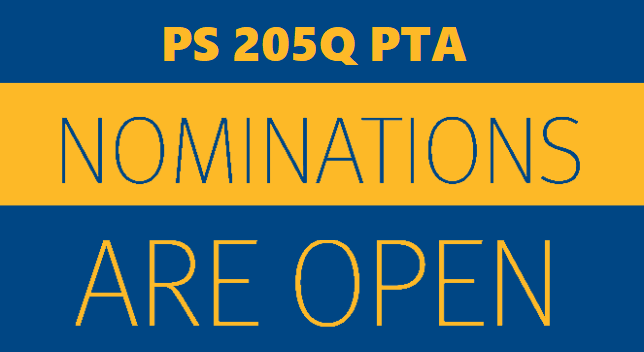 PS 205Q PTA Nominations Are Open. Click to open pdf.