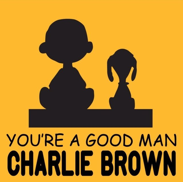 You're a Good Man Charlie Brown silhouette of Charlie Brown and Snoopy on yellow background