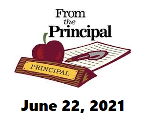 image of principal name plaque on desk with apple, pen and paper.  Link to letter from the principal june 22, 2021