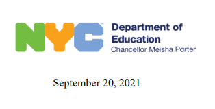 link to letter to families from NYC DOE Chancellor Meisha Porter 9-20-21