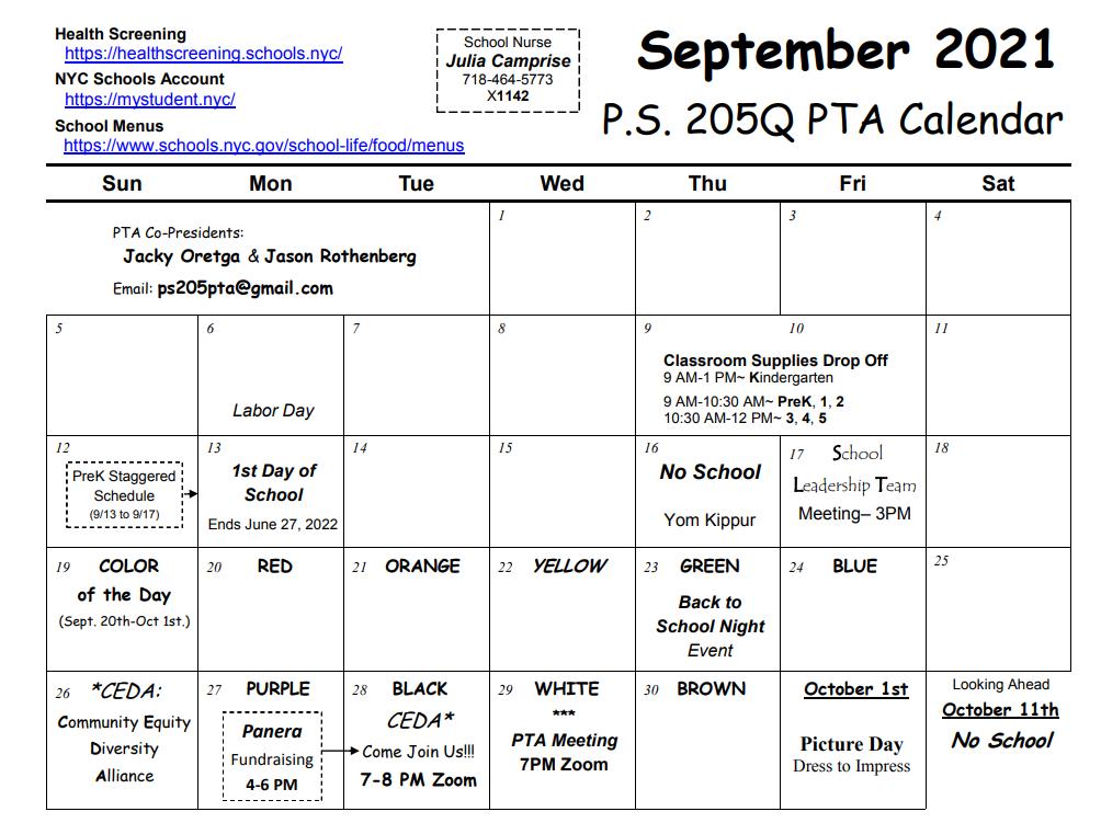 image of calendar and link to September 2021 calendar pdf