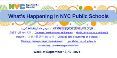 image of what's happening in NYC public schools week of sept 13-17 2021. link to pdf