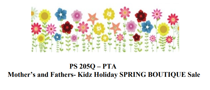 PTA Boutique flowers. Mother's and Father's Day - Spring Sale. link to flyer