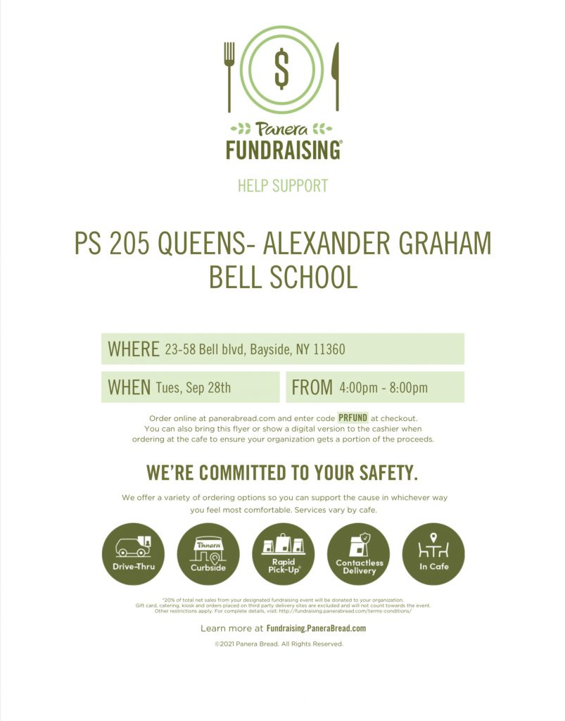 Where: Panera Address: 23-58 Bell Blvd., Bayside Date: Next Tuesday, September 28th Time: 4:00PM- 8:00PM Please contact Jason Rothenberg at ps205pta@gmail.com if you have any questions.